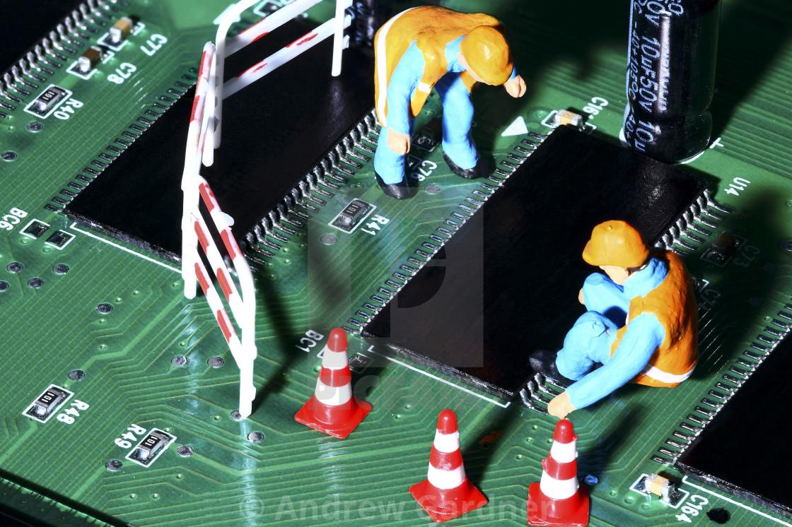 Conceptual diorama image of miniature figure workmen