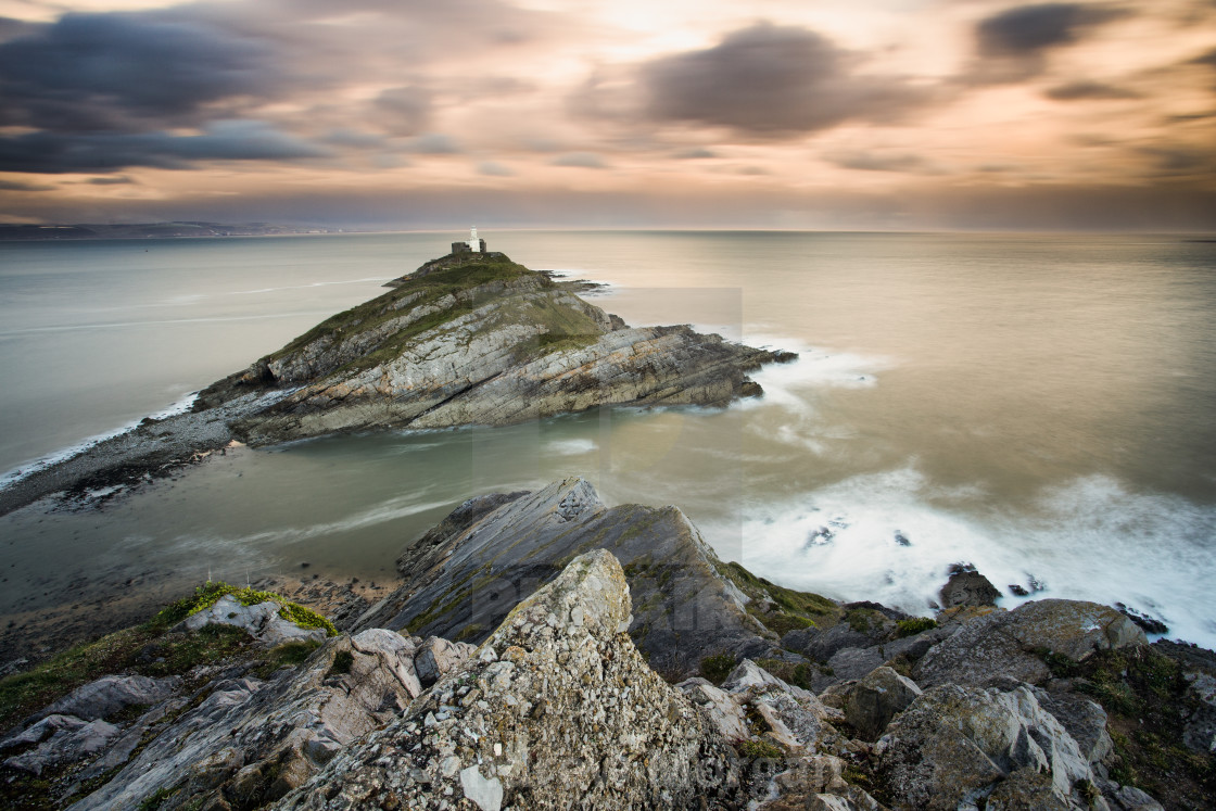 """Mumbles lighthouse"" stock image"
