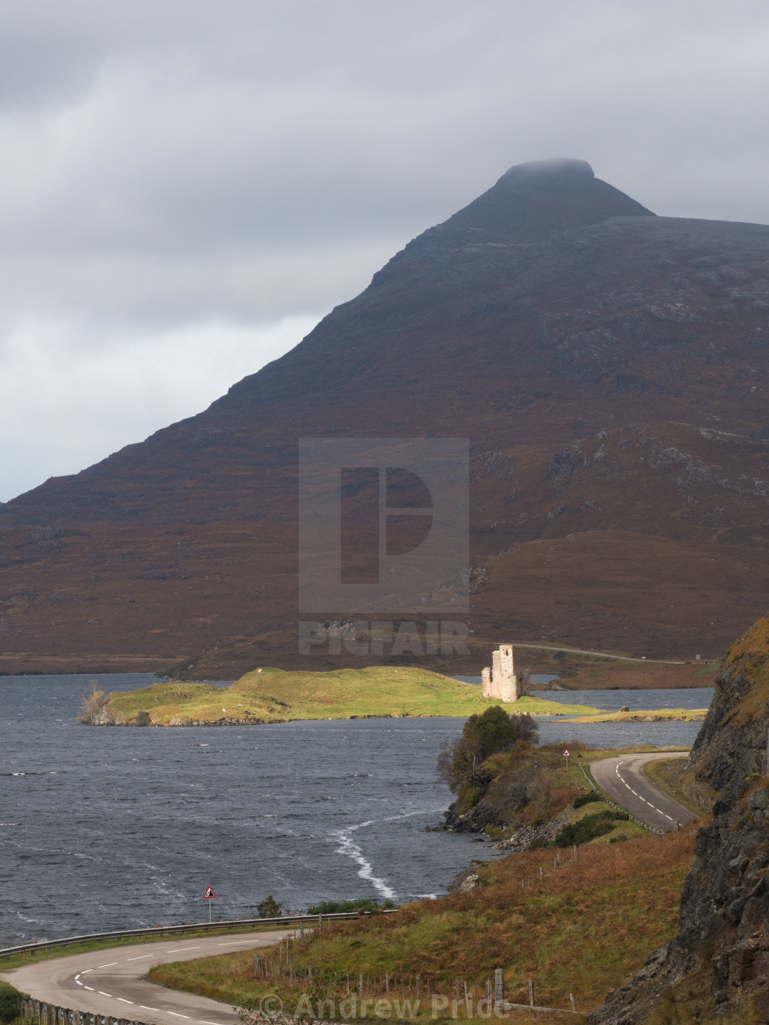 """Sunlight hitting Ardvreck Castle"" stock image"