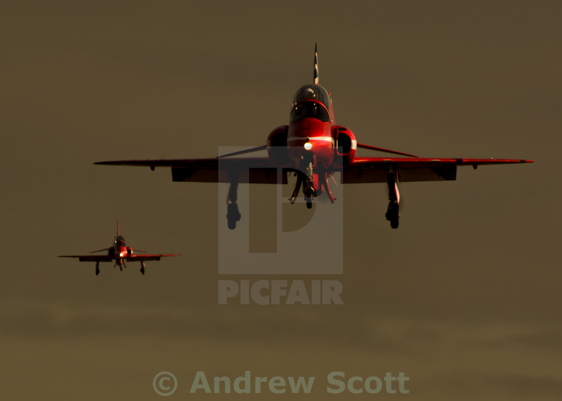 """RAF Red Arrows landing"" stock image"