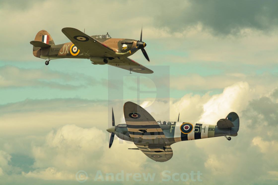 """Spitfire and Hurricane crossover"" stock image"