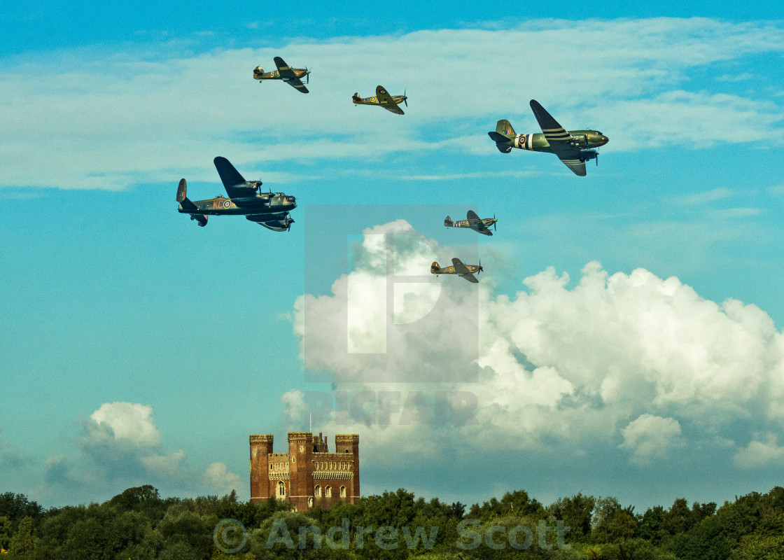 """Battle of Britain flying past Tattershall Castle"" stock image"