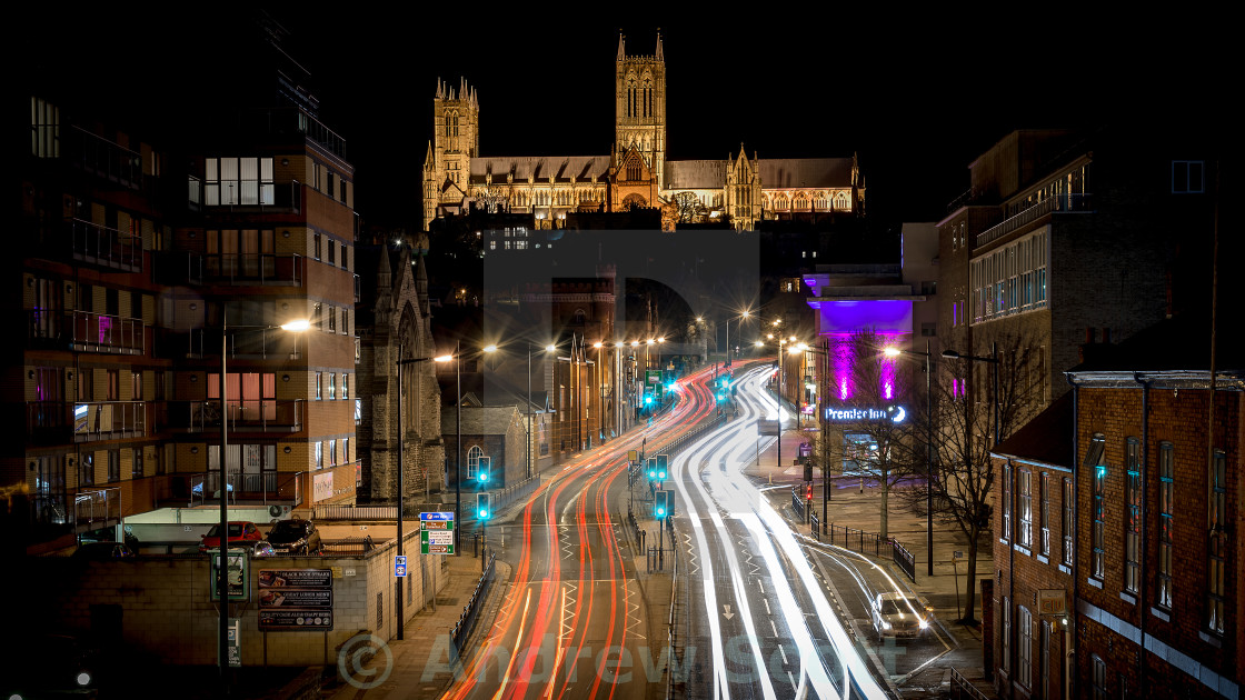 """Lincoln at night"" stock image"