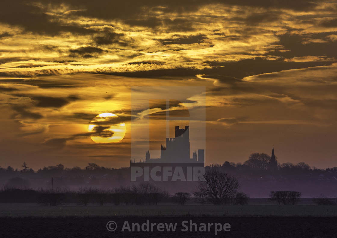 """Sunrise over Ely Cathedral, 16th February 2017"" stock image"