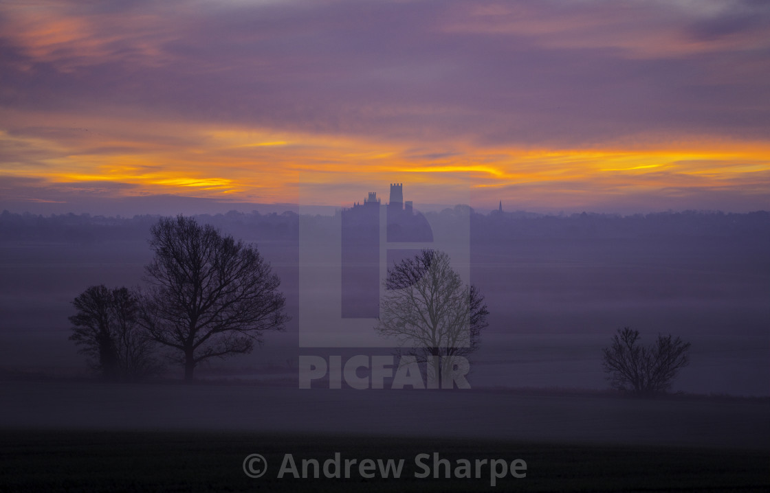 """Dawn over Ely Cathedral, 12th December 2016"" stock image"