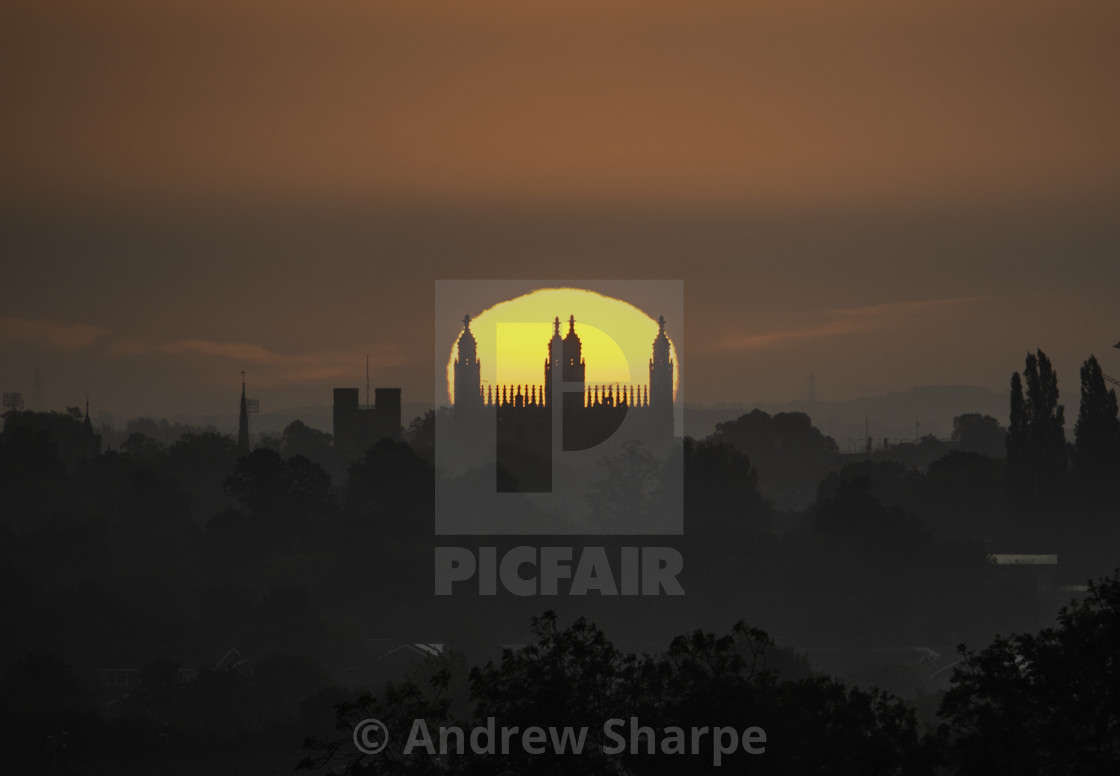 """Sunrise over King's College Chapel, Cambridge, 31st August 2019"" stock image"