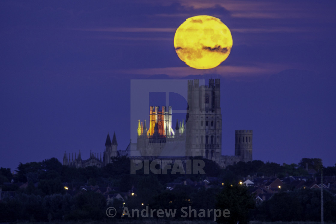 """Moonrise over Ely Cathedral, 15th August 2019"" stock image"