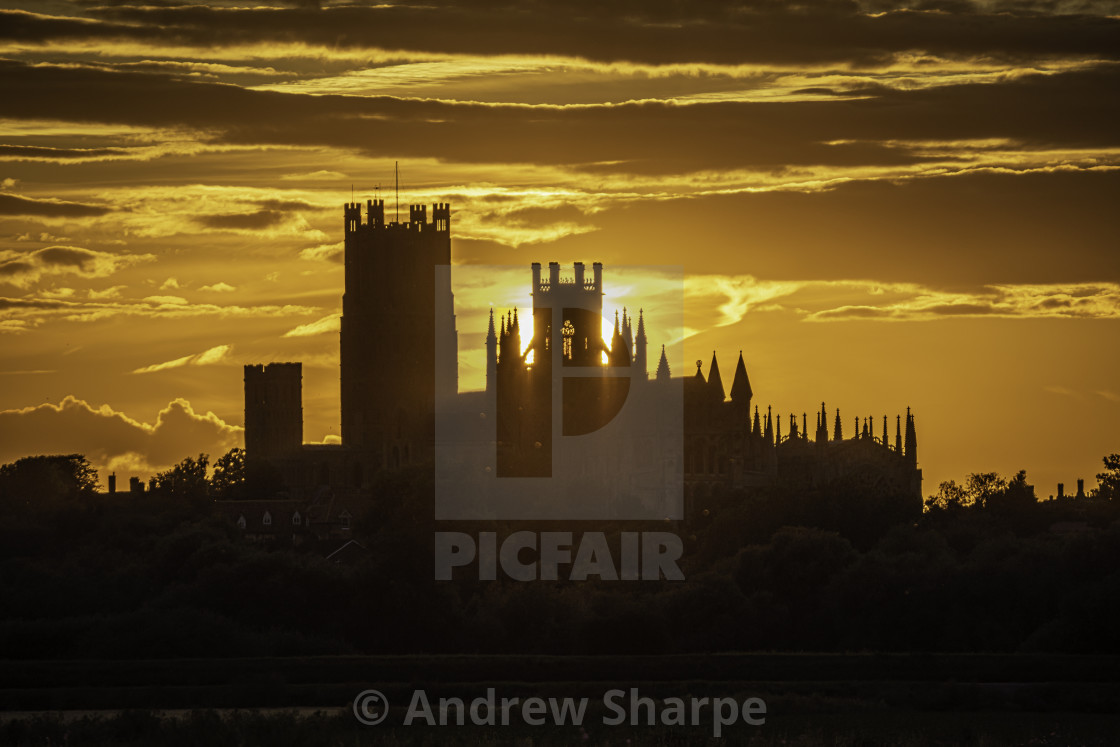"""Sunset over Ely, 18th July 2019"" stock image"