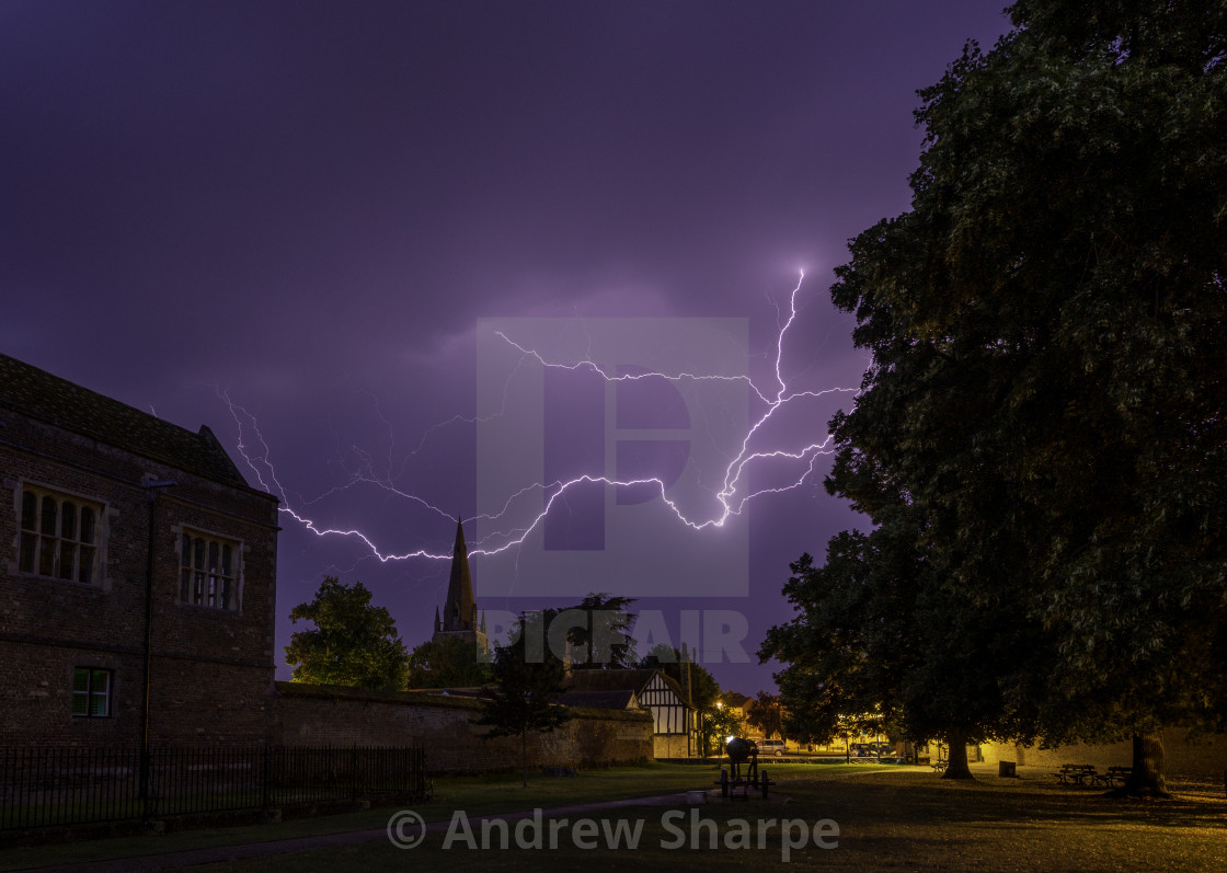 """Thunderstorm over St Mary's Church, Ely, 24th July 2019"" stock image"