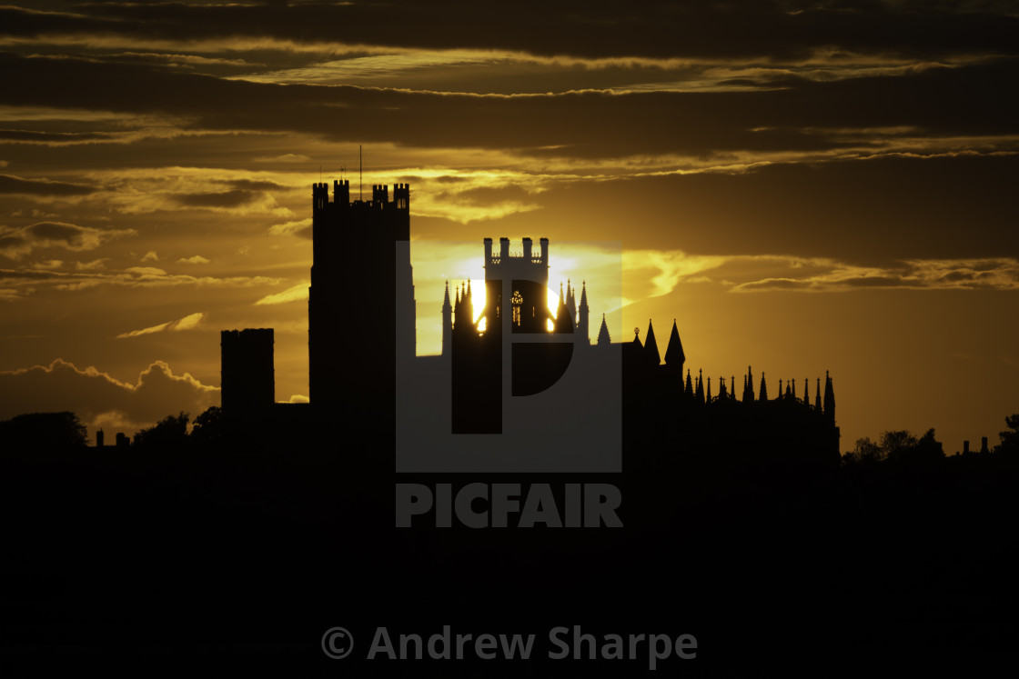 """""""Sunset over Ely, 18th July 2019"""" stock image"""
