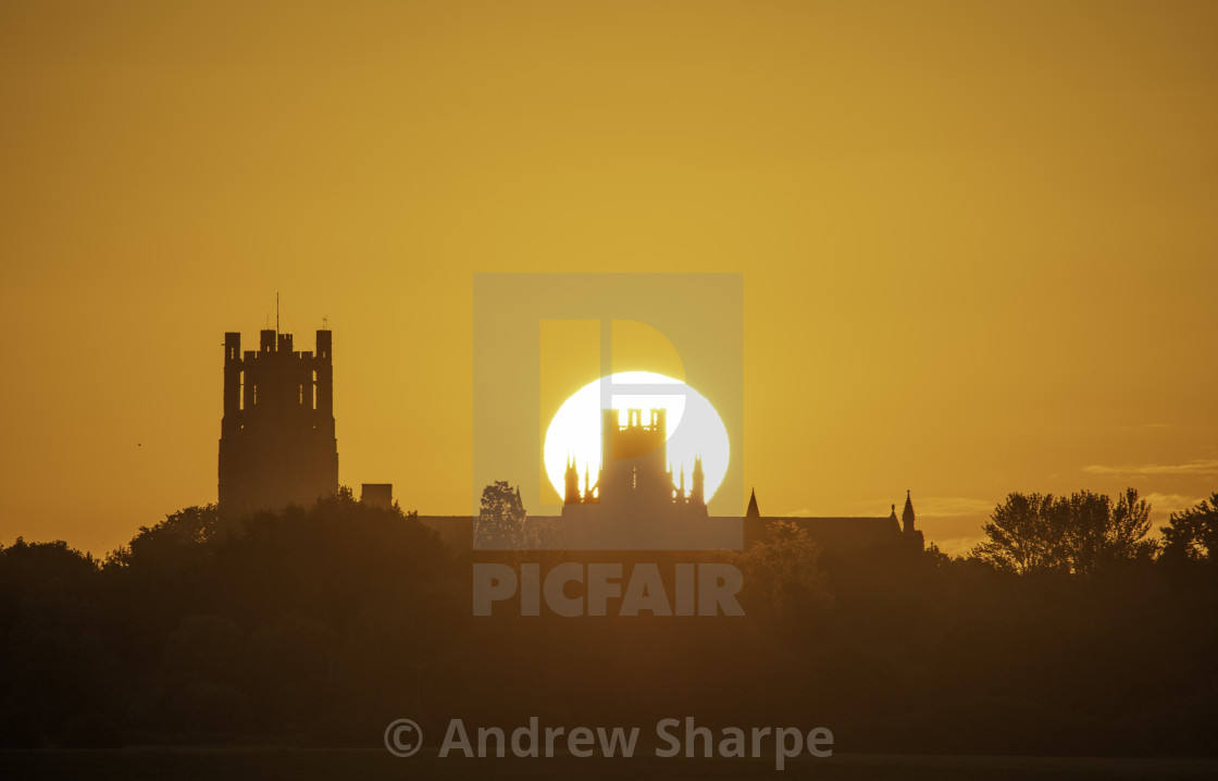 """Summer solstice, 21st June 2019, over Ely Cathedral"" stock image"