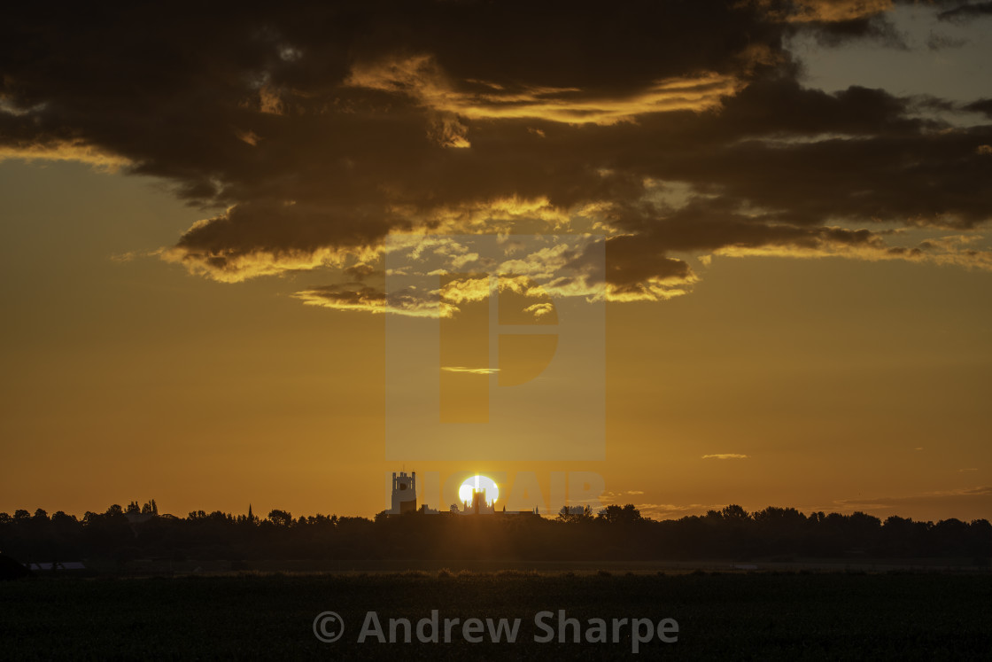 """""""Summer solstice, 21st June 2019, over Ely Cathedral"""" stock image"""