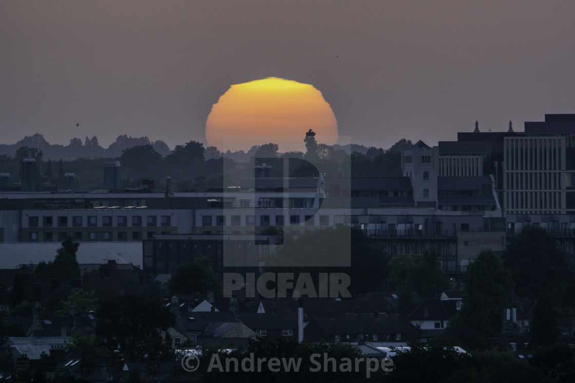 """Sunset over Cambridge, from Lime Kiln Hill"" stock image"