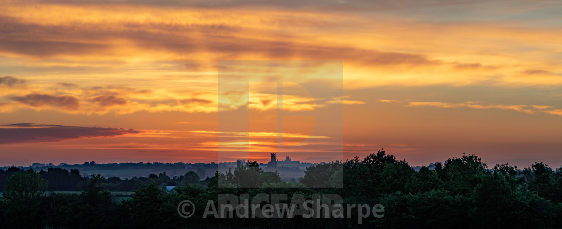 """""""Dawn over fenland, 27th May 2019"""" stock image"""