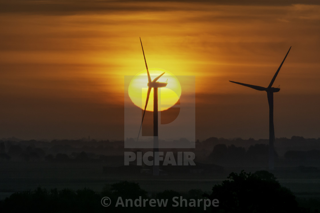 """""""Dawn over Tick Fen windfarm, from Warboys, 21st May 2019"""" stock image"""