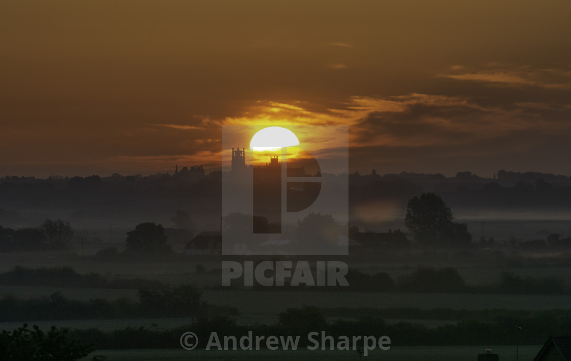 """Sunrise over Ely, 14th May 2019"" stock image"