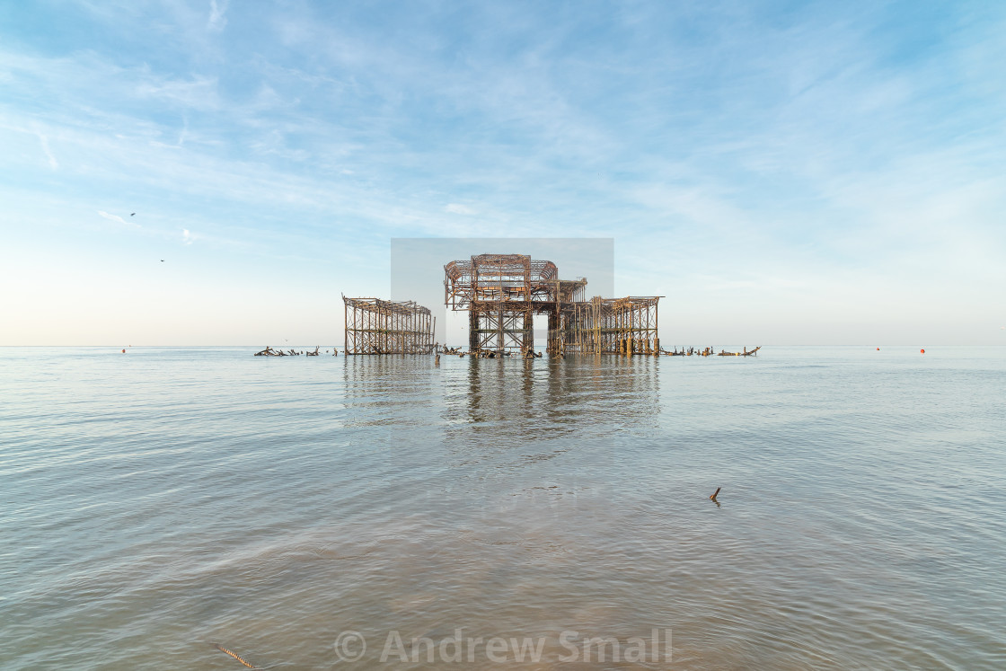 """""""West Pier at sunrise and low tide 1"""" stock image"""