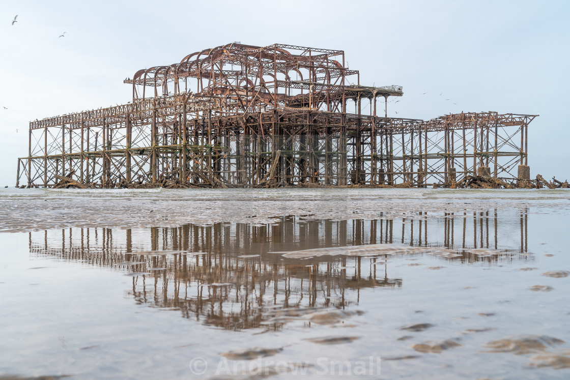 """""""West Pier at sunrise and low tide 3"""" stock image"""