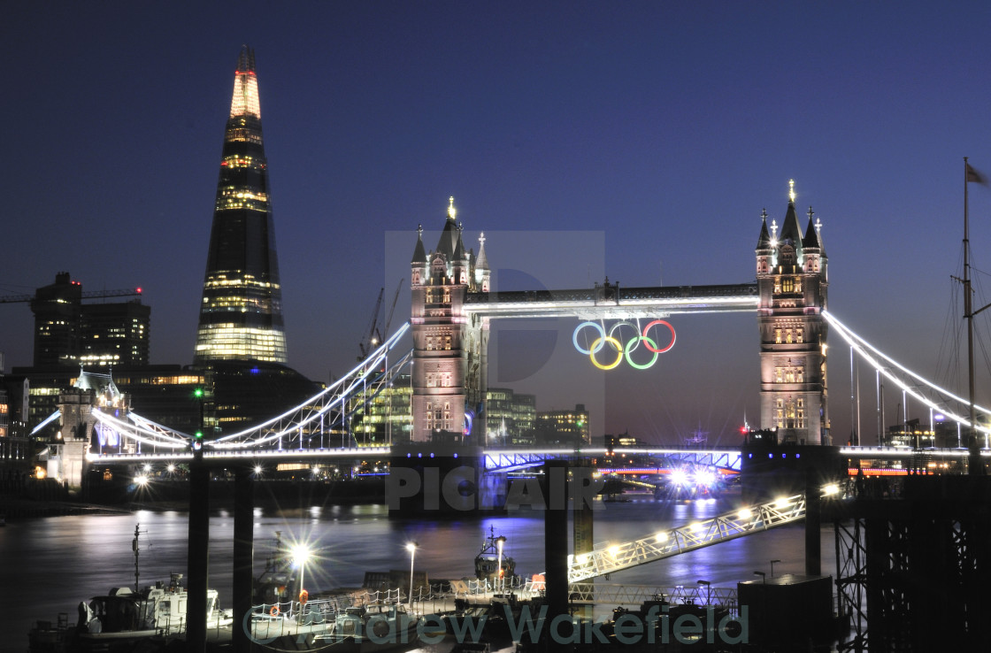 """Tower Bridge and the Olympic Rings"" stock image"