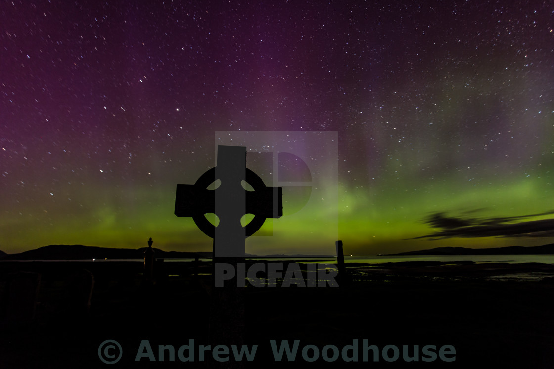 """Aurora borealis over the Isle of Skye"" stock image"