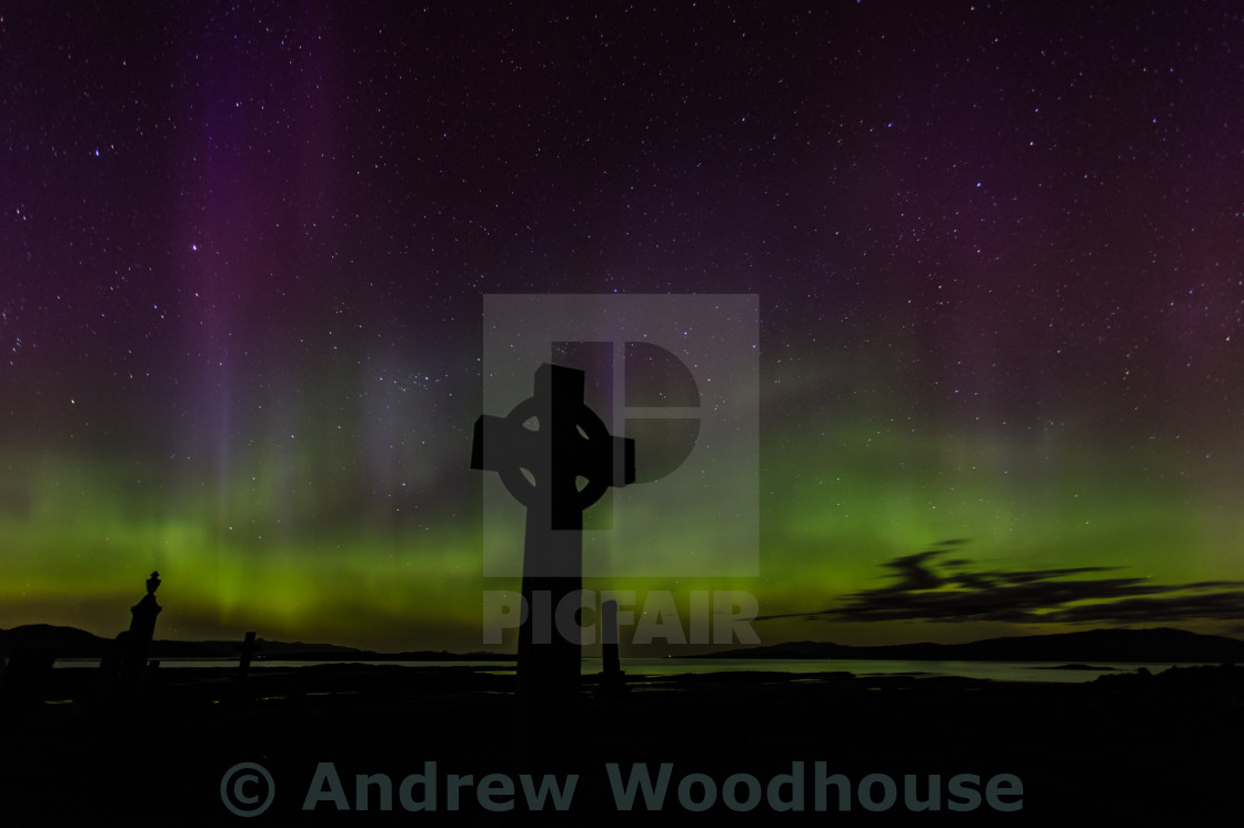 """Aurora borealis at Ashaig, Isle of Skye"" stock image"