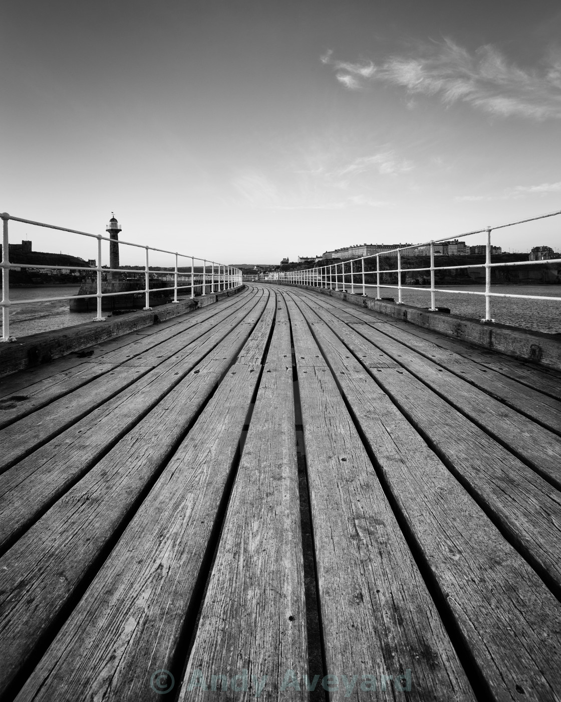"""Whitby Harbour Boardwalk"" stock image"
