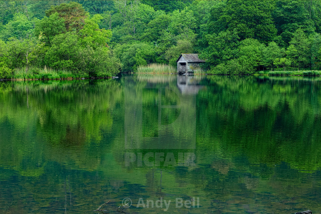 """Boat House, Rydal Water"" stock image"