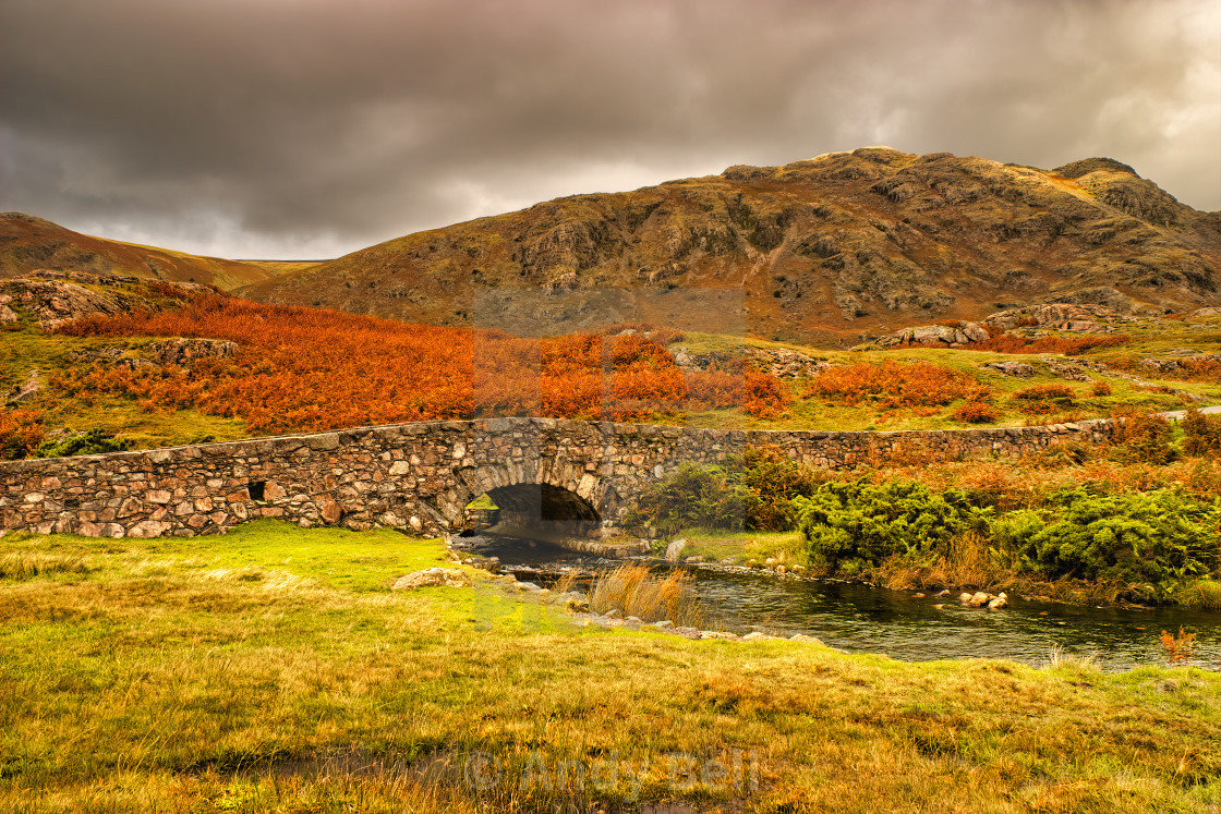 """Middle Fell and Overbeck Bridge"" stock image"