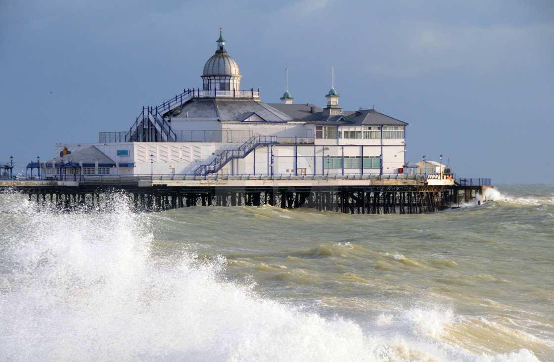 """""""Eastbourne Pier on a stormy day"""" stock image"""