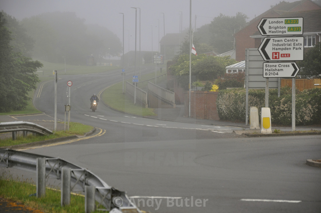 """""""UK Weather - Misty morning in Eastbourne."""" stock image"""