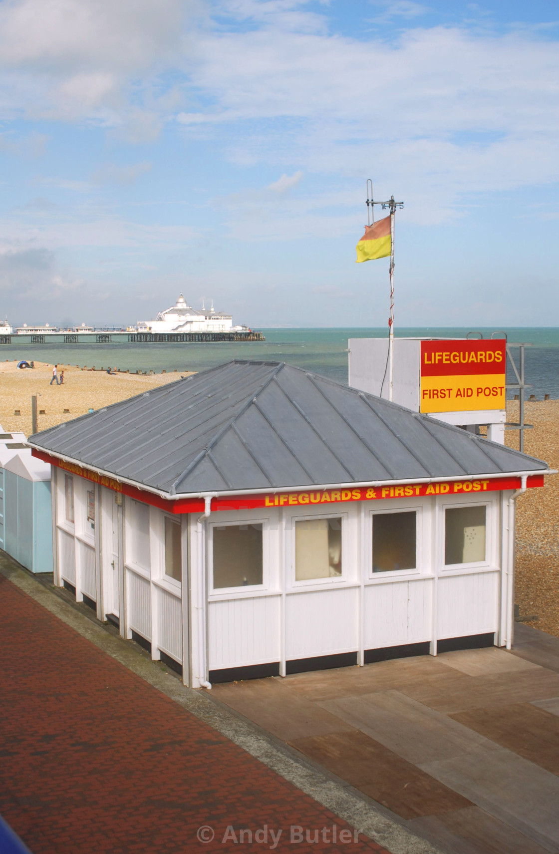 """""""Lifeguard First Aid Post, Eastbourne"""" stock image"""
