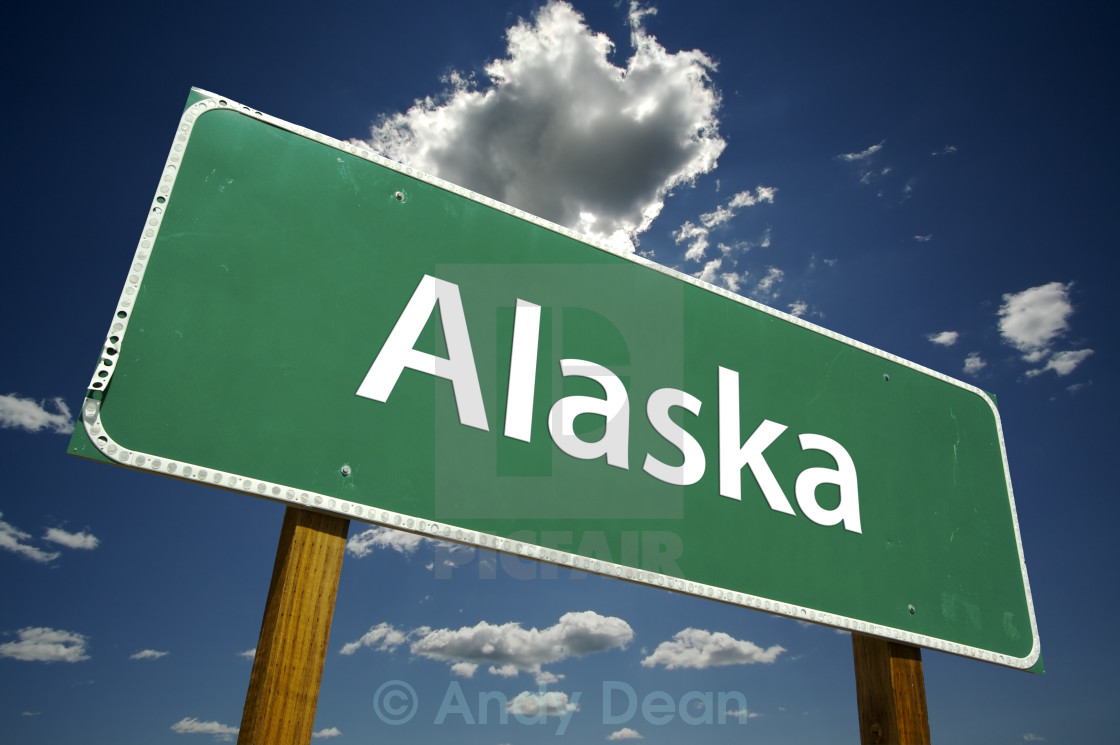 """Alaska Road Sign"" stock image"