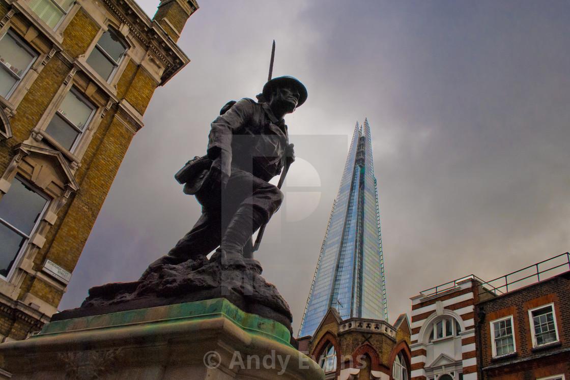 """""""St Saviours War Memorial and The Shard Southwark London England"""" stock image"""