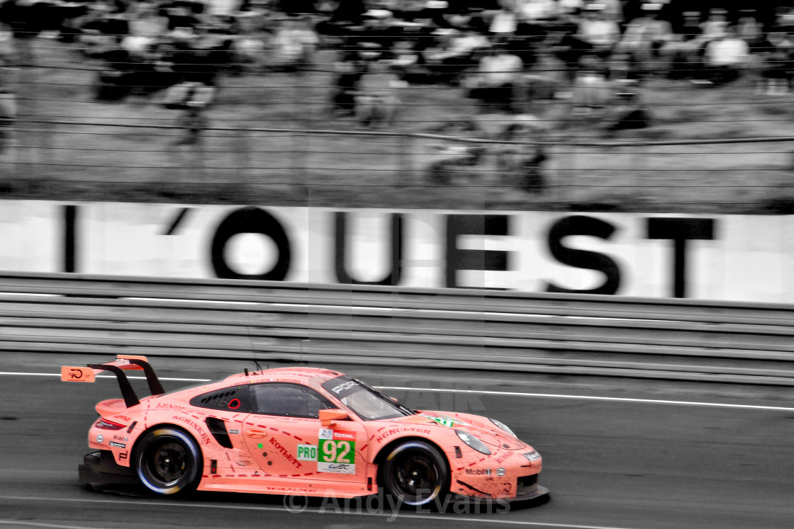 """""""Porsche 911 RSR no92 racing at The 24 Hours of Le Mans endurance"""" stock image"""