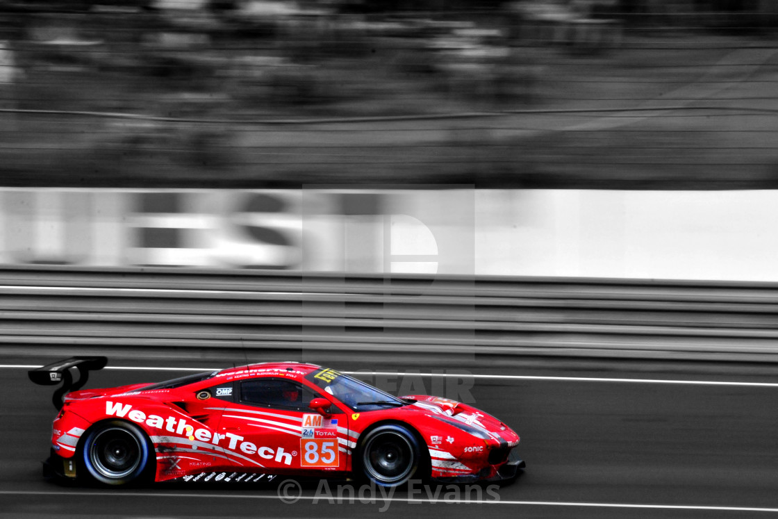 """Ferrari 488 GTE no85 racing at The 24 Hours of Le Mans endurance"" stock image"