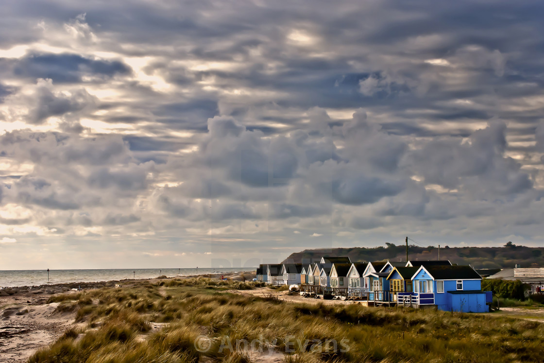"""Hengistbury Head beach huts near Bournemouth Dorset England"" stock image"