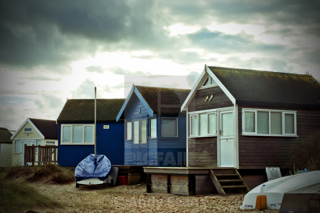 """Hengistbury Head beach huts near Bournemouth Dorset England"" stock image"