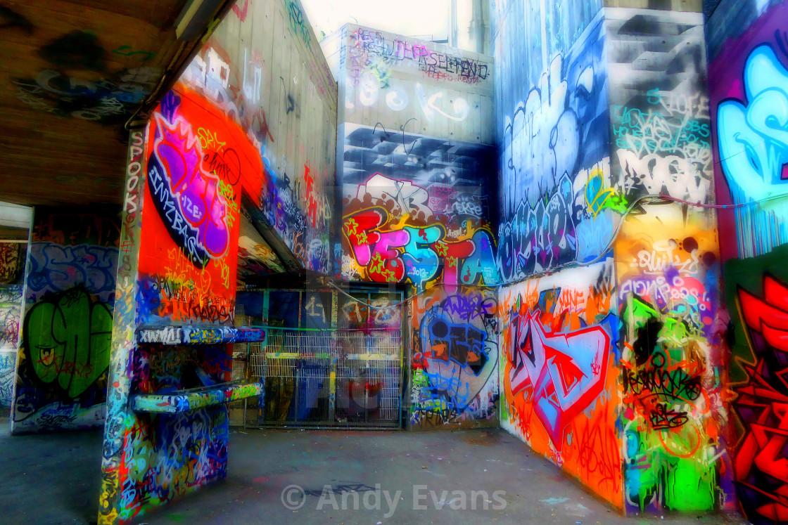 """Southbank Skate Park Graffiti Street Art London"" stock image"