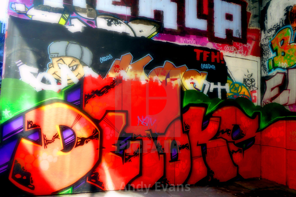 """Southbank Skate Park Graffiti Street Art London"" stock image"