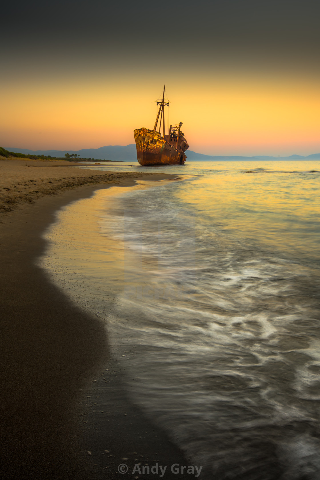 """Afterglow Greek Peloponnese"" stock image"