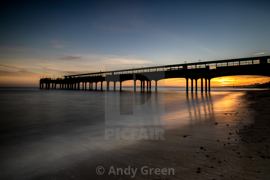 """Pier in the sunset"" stock image"