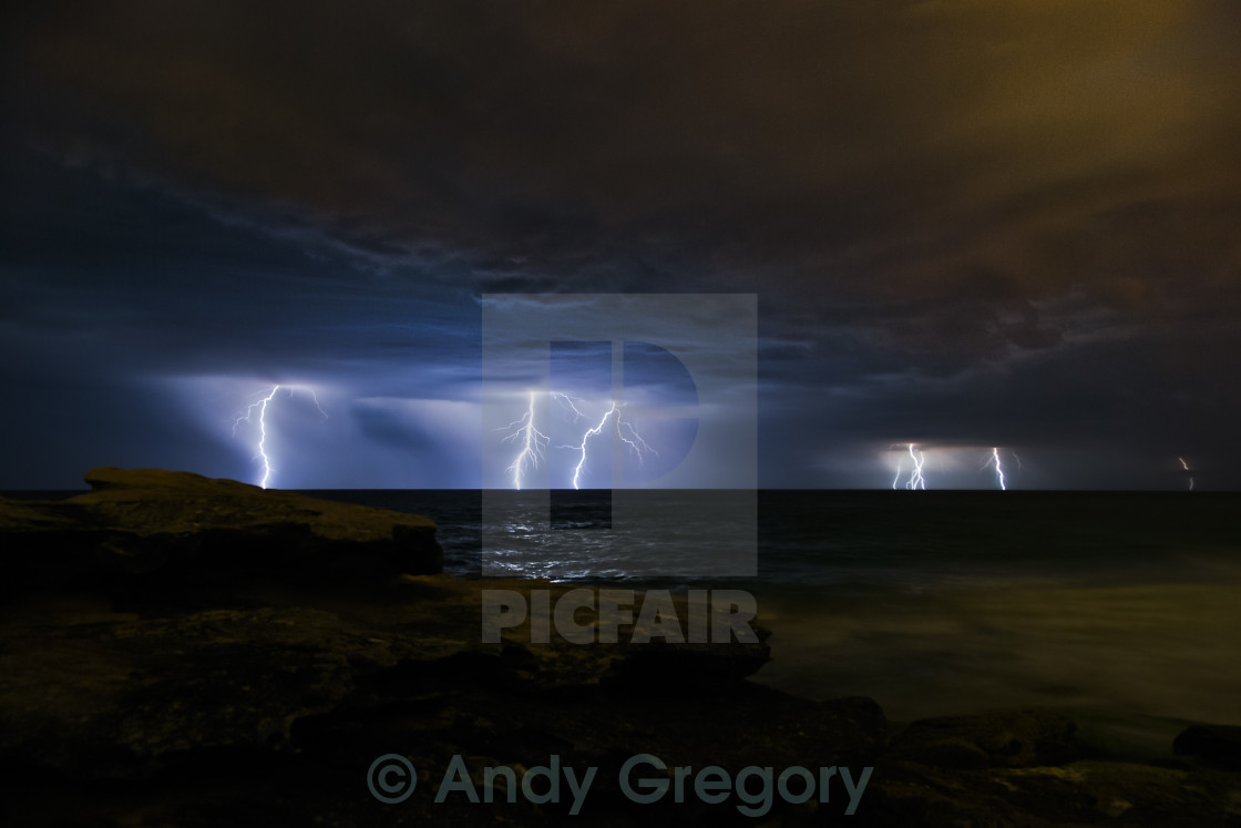 """Massive storm, lightning strikes"" stock image"