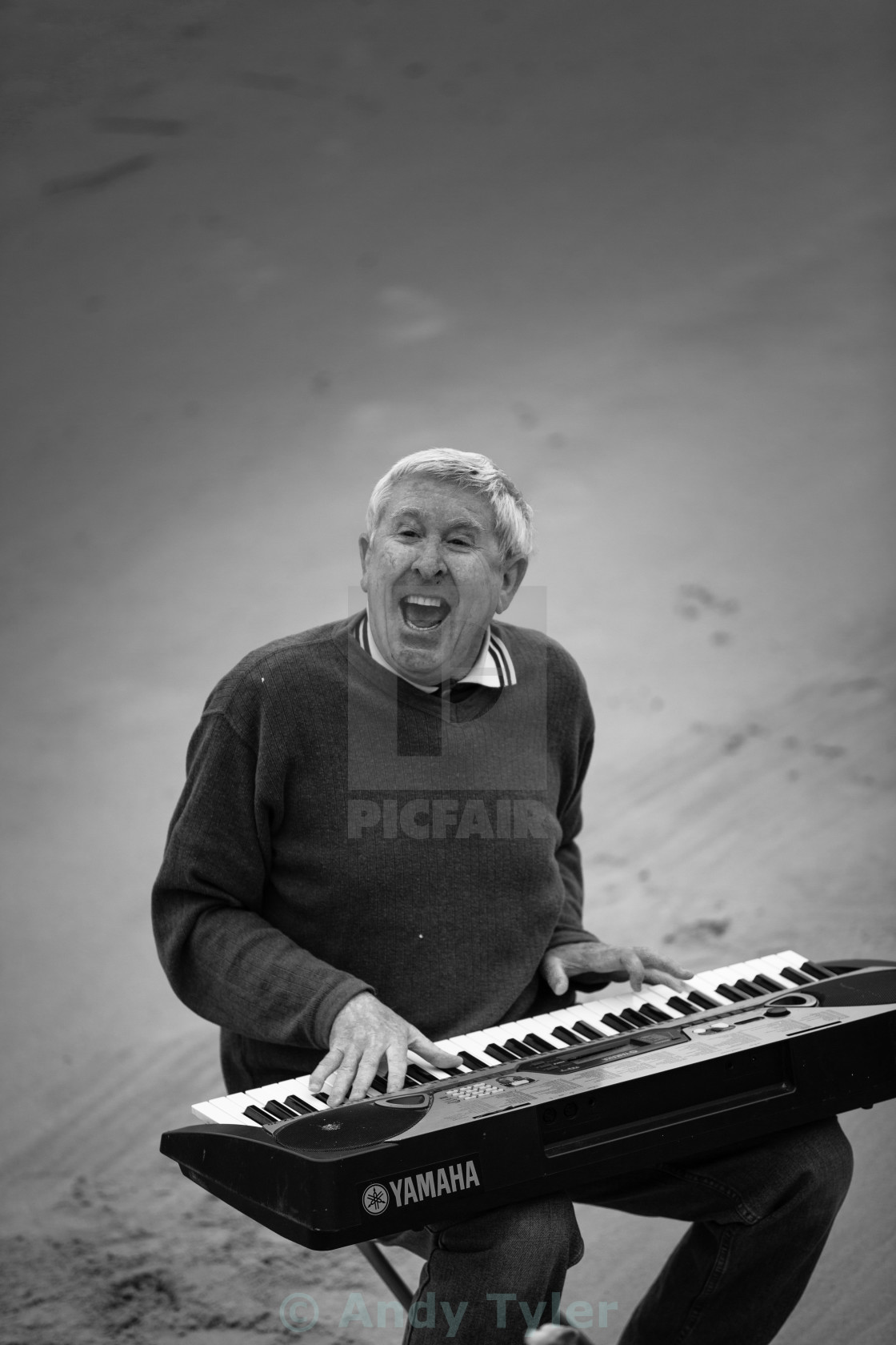 """Keyboard Busker on the Thames"" stock image"