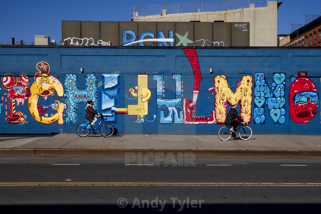 """Two Cyclists In Alphabet City"" stock image"