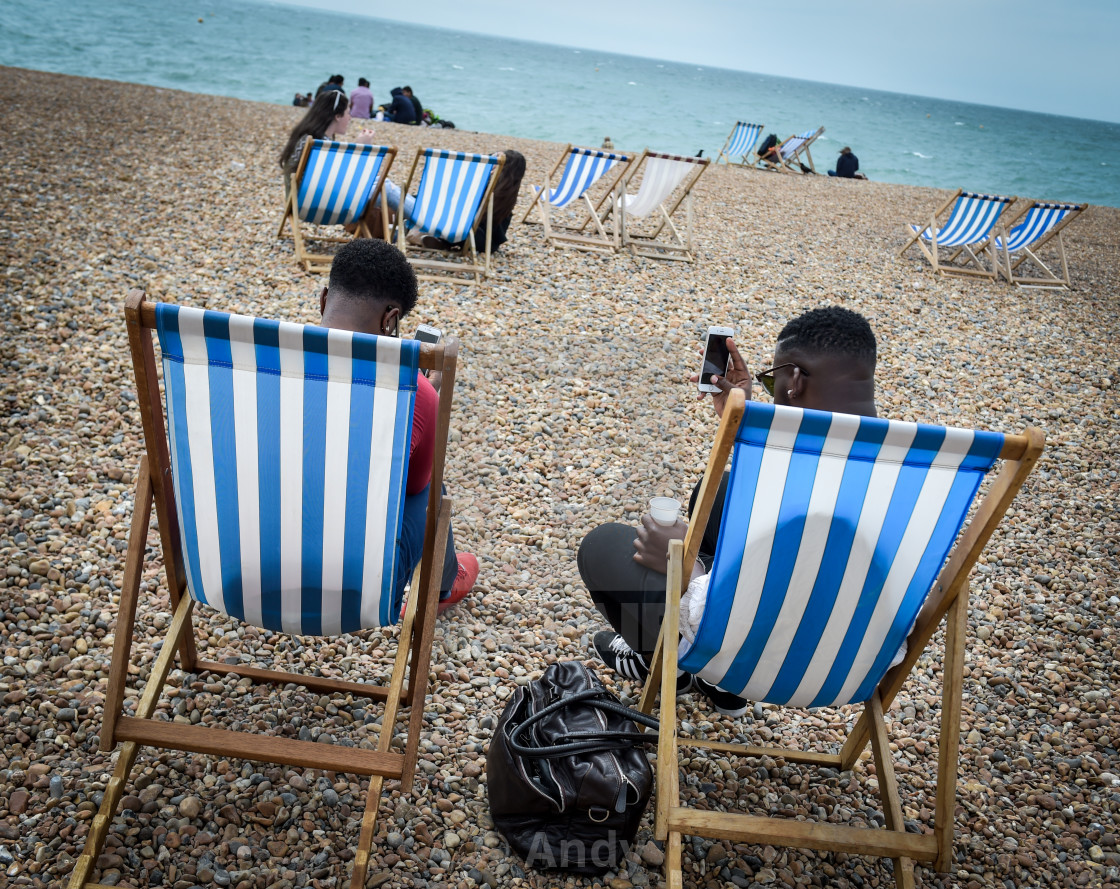 """Deckchairs Brighton"" stock image"