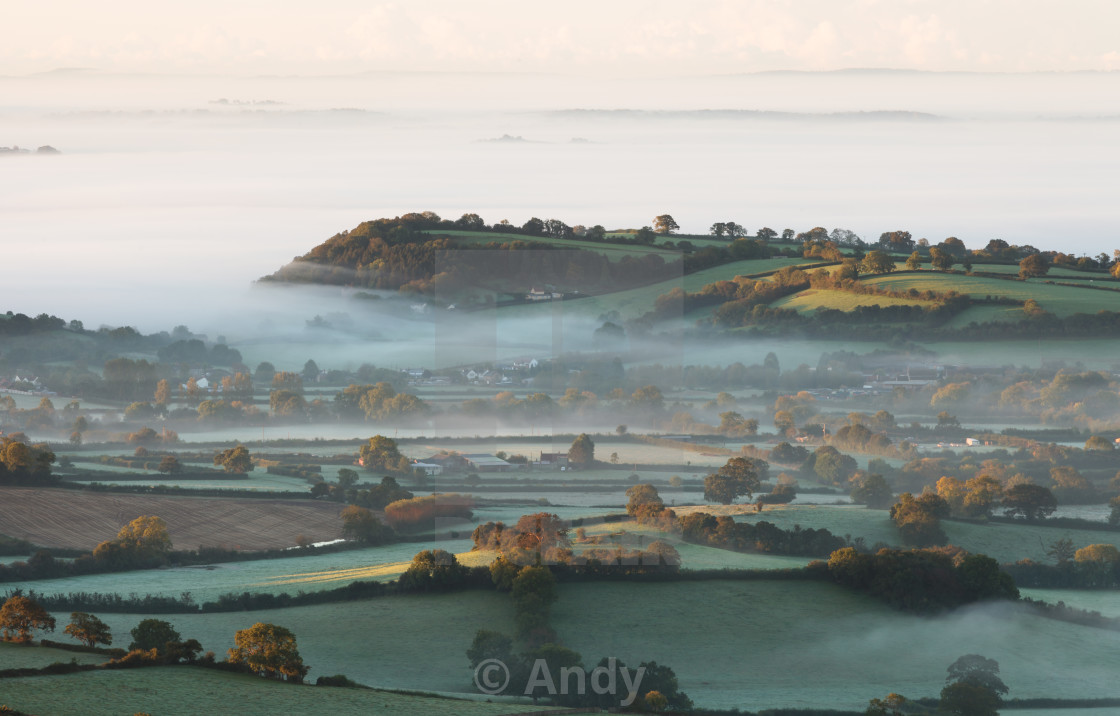 """Mist over Somerset"" stock image"