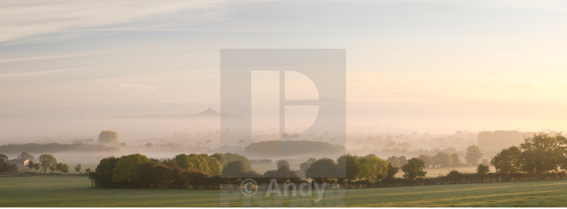 """Mist over Glastonbury"" stock image"