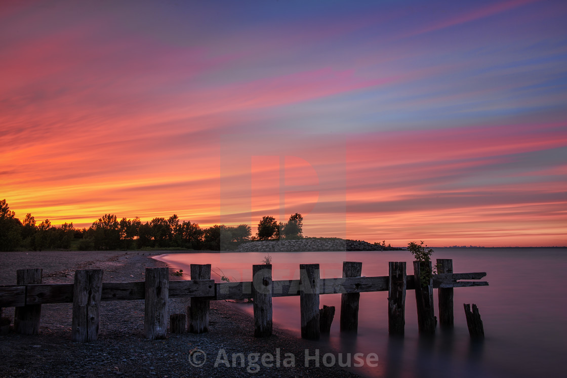 """""""Sunset at Fifty Point Pier"""" stock image"""