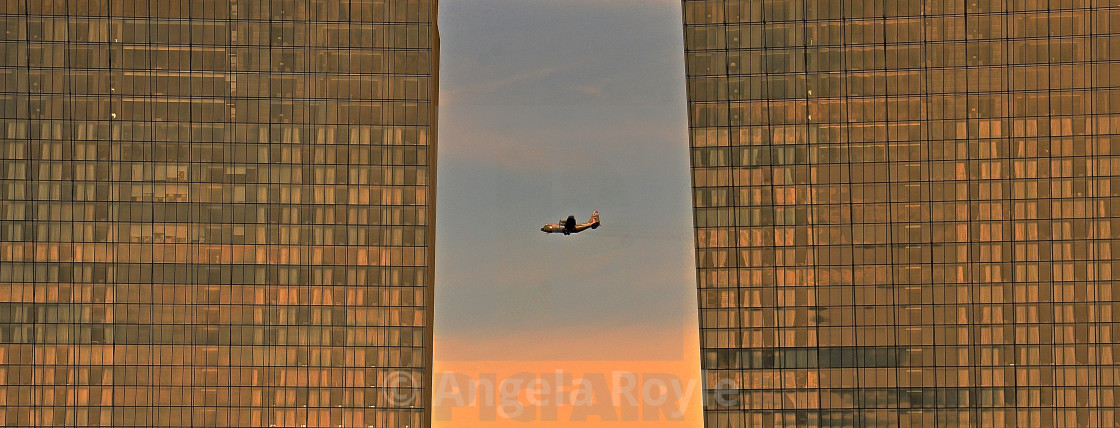 """""""Plane and office blocks"""" stock image"""