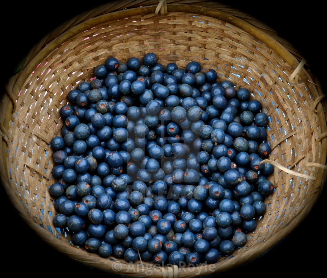 """Blueberries in a wicker basket"" stock image"